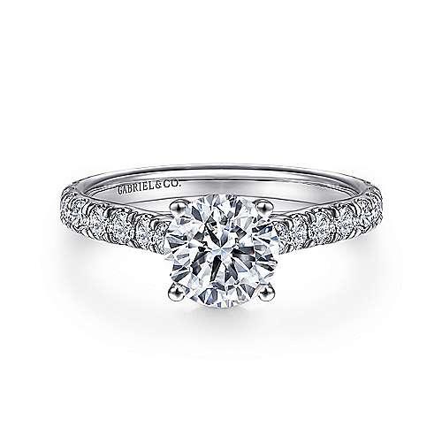 Gabriel - Luciole 18k White Gold Round Straight Engagement Ring