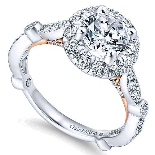 Lucy 14k White And Rose Gold Round Halo Engagement Ring angle 3
