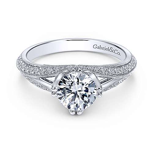 Gabriel - Luella 14k White Gold Round Split Shank Engagement Ring
