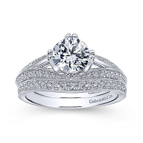 Luella 14k White Gold Round Split Shank Engagement Ring angle 4