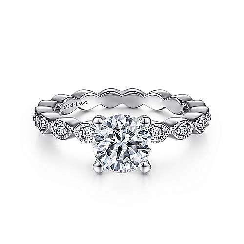 Gabriel - Lula 14k White Gold Round Straight Engagement Ring
