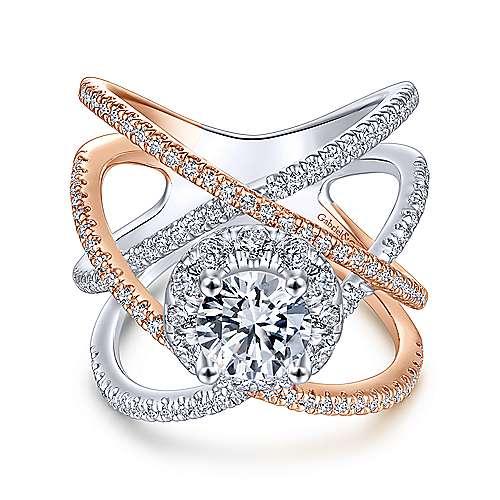 Gabriel - Lumina 14k White And Rose Gold Round Halo Engagement Ring
