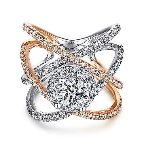 Lumina 18k White And Rose Gold Round Halo Engagement Ring angle 1
