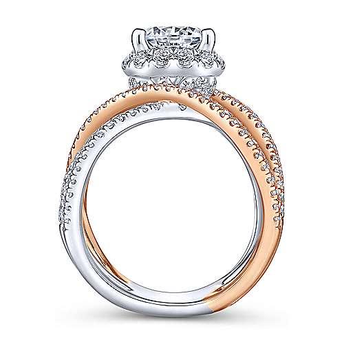 Lumina 18k White And Rose Gold Round Halo Engagement Ring angle 2