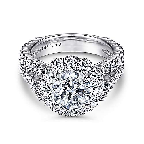 Gabriel - Luna 14k White Gold Round Halo Engagement Ring
