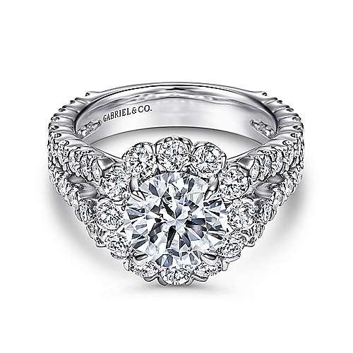 Gabriel - Luna 14k White Gold Round Halo Engagement Ring