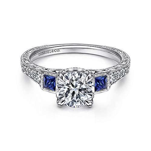 Lunaria Platinum Round 3 Stones Engagement Ring angle 1