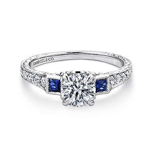 Gabriel - Lunaria Platinum Round 3 Stones Engagement Ring