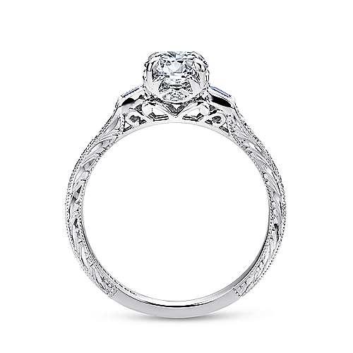 Lunaria Platinum Round 3 Stones Engagement Ring angle 2