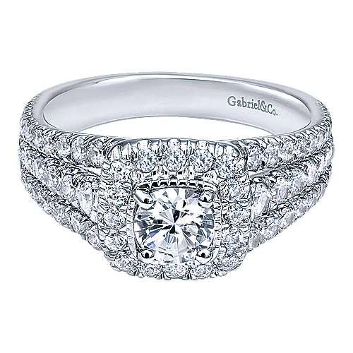 Gabriel - Lupita 14k White Gold Round Halo Engagement Ring