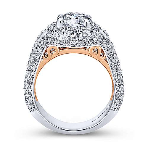 Luxury 18k White And Rose Gold Round Double Halo Engagement Ring angle 2