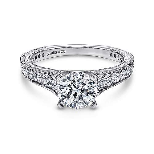Gabriel - Lydia 14k White Gold Round Straight Engagement Ring