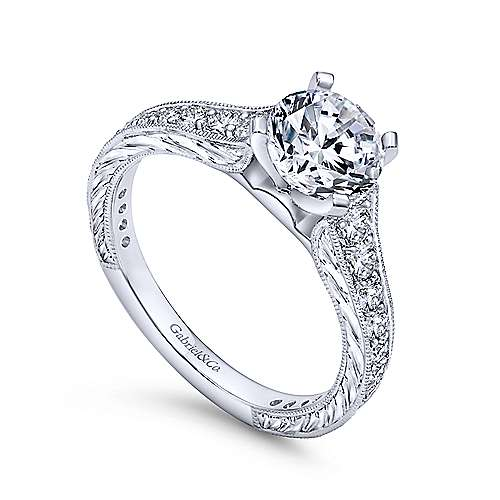 Lydia 14k White Gold Round Straight Engagement Ring angle 3