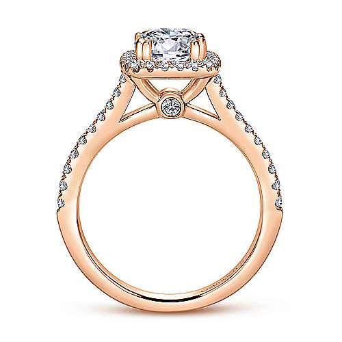 Lyla 14k Pink Gold Round Halo Engagement Ring angle 2