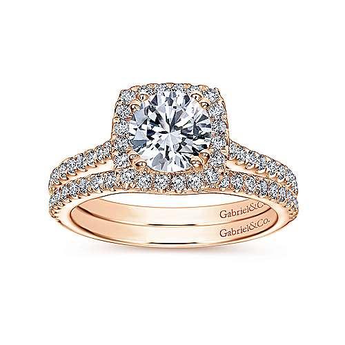Lyla 14k Pink Gold Round Halo Engagement Ring angle 4