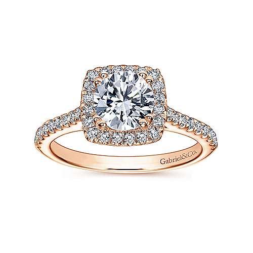Lyla 14k Pink Gold Round Halo Engagement Ring angle 5