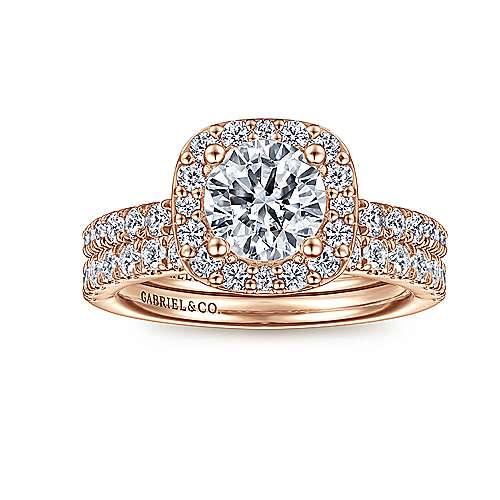 Lyla 14k Rose Gold Round Halo Engagement Ring angle 4