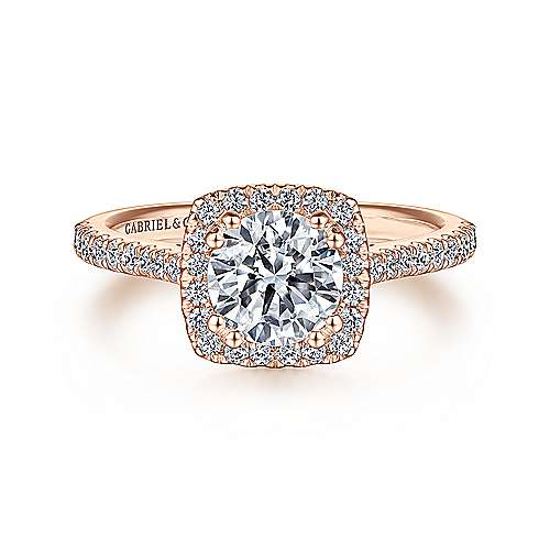 Lyla 14k Rose Gold Round Halo Engagement Ring angle 1