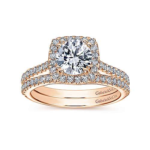Lyla 14k Rose Gold Round Halo Engagement Ring angle 4