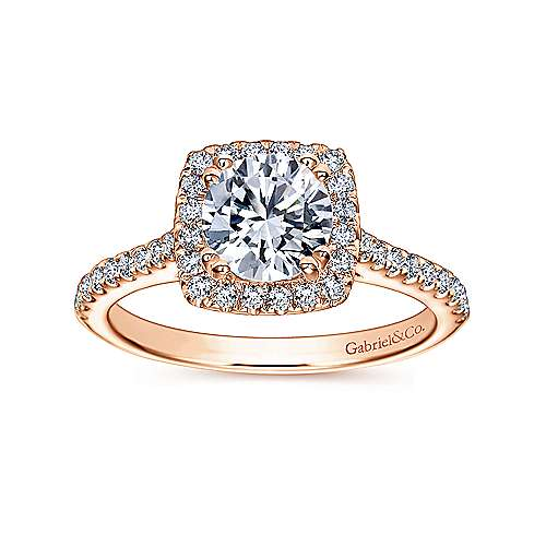 Lyla 14k Rose Gold Round Halo Engagement Ring angle 5