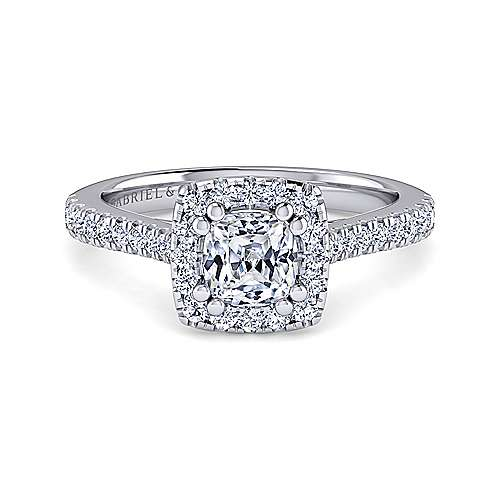 Gabriel - Lyla 14k White Gold Cushion Cut Halo Engagement Ring