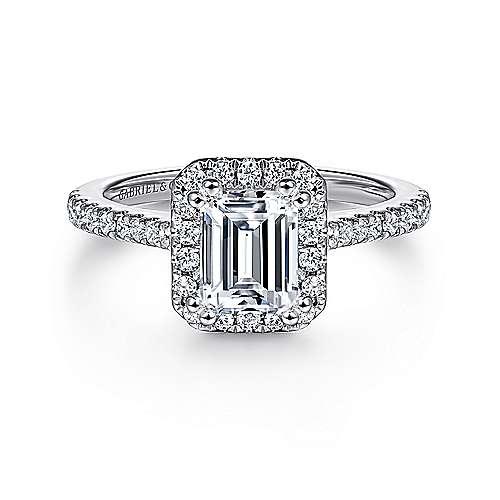 Gabriel - Lyla 14k White Gold Emerald Cut Halo Engagement Ring