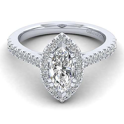 Gabriel - Lyla 14k White Gold Marquise  Halo Engagement Ring