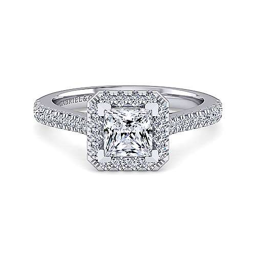 Gabriel - Lyla 14k White Gold Princess Cut Halo Engagement Ring
