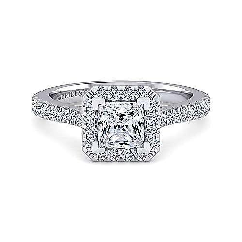 Gabriel - Lyla 14k White Gold Princess Cut Halo Engagement Ring