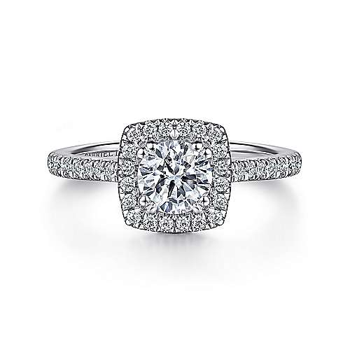 Gabriel - Lyla 14k White Gold Round Halo Engagement Ring