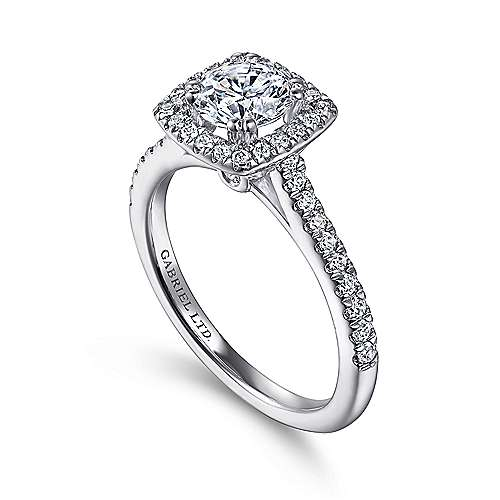 Lyla 14k White Gold Round Halo Engagement Ring angle 3