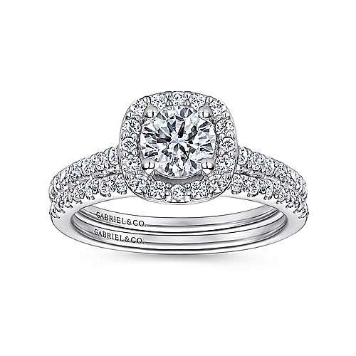 Lyla 14k White Gold Round Halo Engagement Ring