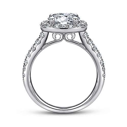 Lyla 14k White Gold Round Halo Engagement Ring angle 2