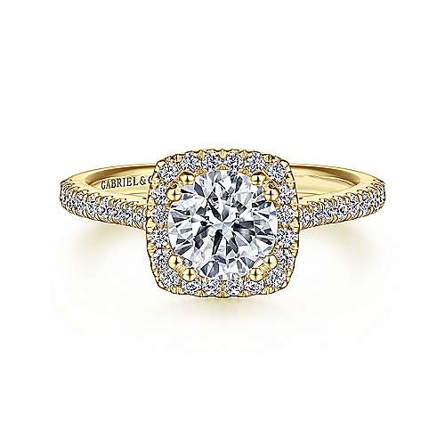 Lyla 14k Yellow Gold Round Halo Engagement Ring angle 1