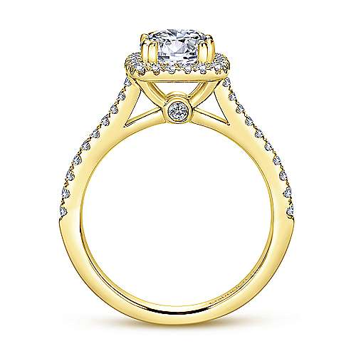 Lyla 14k Yellow Gold Round Halo Engagement Ring angle 2