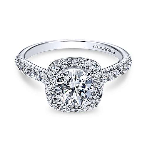 Gabriel - Lyla 18k White Gold Round Halo Engagement Ring