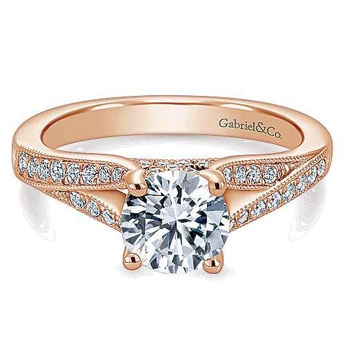 Gabriel - Lynley 14k Pink Gold Round Split Shank Engagement Ring