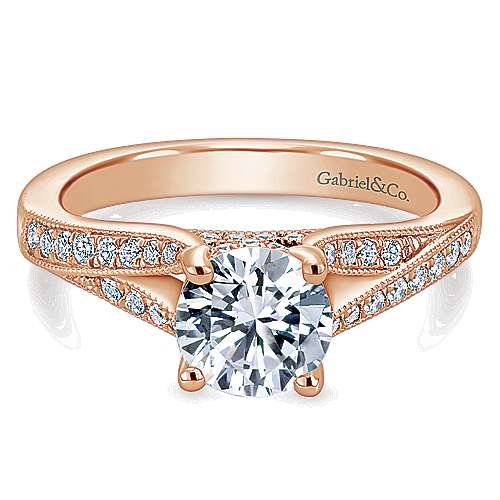 Gabriel - Lynley 14k Rose Gold Round Split Shank Engagement Ring