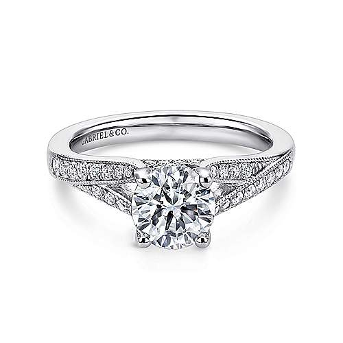 Gabriel - Lynley 14k White Gold Round Split Shank Engagement Ring