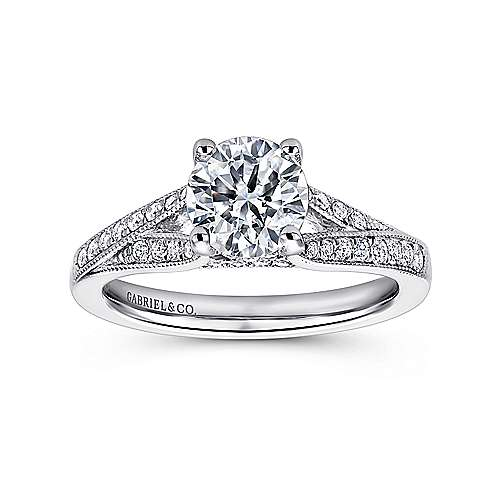 Lynley 14k White Gold Round Split Shank Engagement Ring angle 5