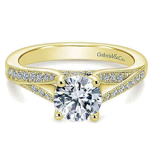 Gabriel - Lynley 14k Yellow Gold Round Split Shank Engagement Ring
