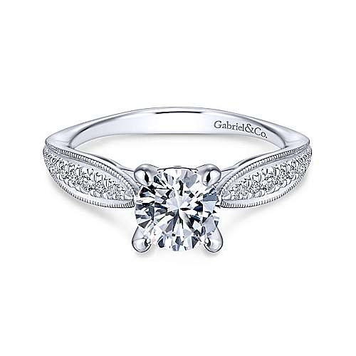 Gabriel - Lynn 14k White Gold Round Straight Engagement Ring