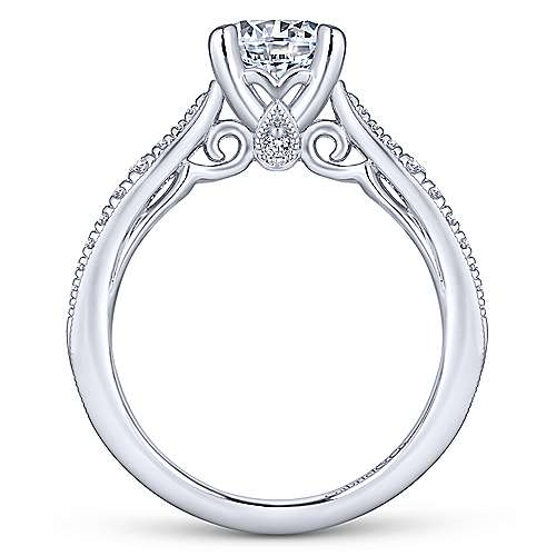 Lynn 14k White Gold Round Straight Engagement Ring angle 2