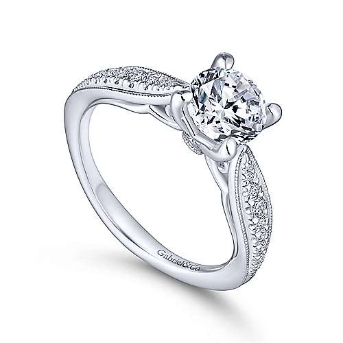 Lynn 14k White Gold Round Straight Engagement Ring angle 3