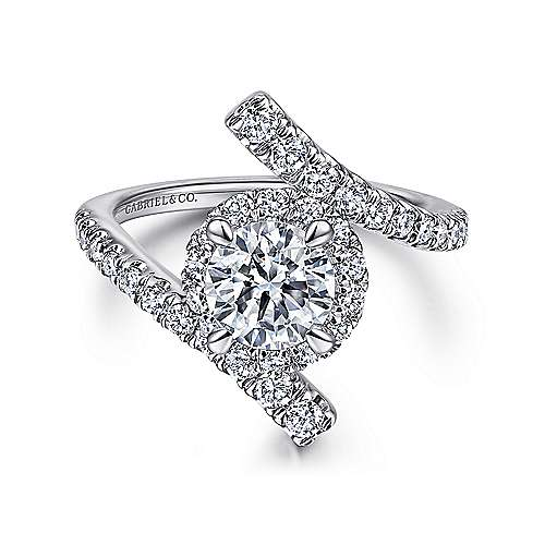 Lyra 14k White Gold Round Halo Engagement Ring angle 1