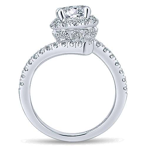 Lyra 14k White Gold Round Halo Engagement Ring angle 2