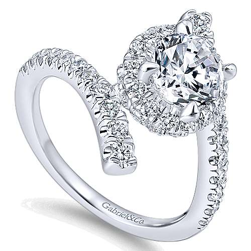 Lyra 14k White Gold Round Halo Engagement Ring angle 3