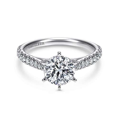 Gabriel - Lyssa 14k White Gold Round Straight Engagement Ring