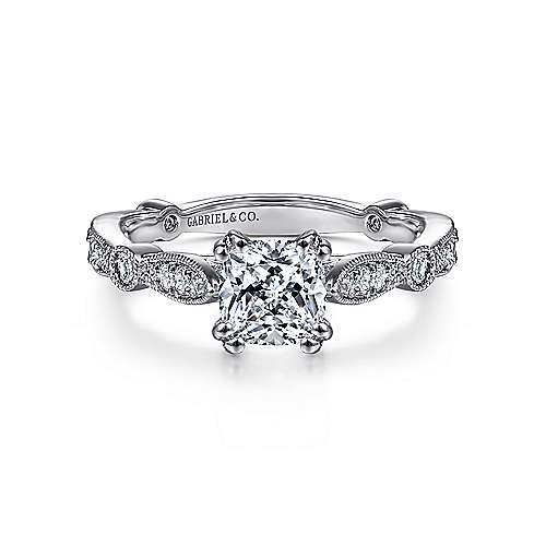 Vintage 14k White Gold Cushion Cut Straight