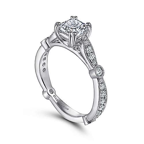 Mabel 14k White Gold Cushion Cut Straight Engagement Ring angle 3